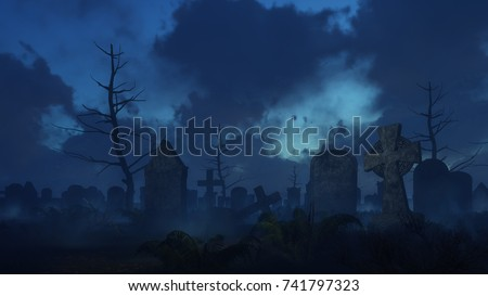 Abandoned spooky cemetery with old celtic cross gravestone and fern thicket on foreground at dark misty night. Halloween horror 3D illustration from my own 3D rendering file. #741797323
