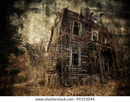 Abandoned spooky house in textured background
