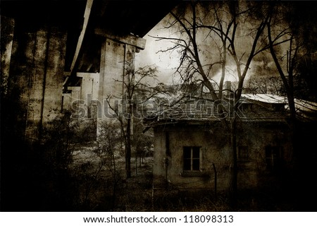 Abandoned spooky wooden house in creepy night forest