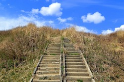 Abandoned stairs overgrown, leading to the blue sky with clouds. Concept of stairway to Heaven or thorny path to the beautiful.