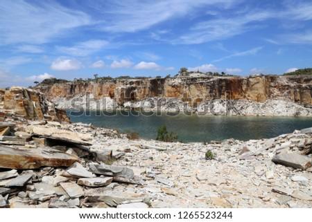Abandoned stone extraction named Lagoa Azul, located in the municipality of São João Batista do Glória, near Capitolio city - Minas Gerais district, Brazil - Imagem #1265523244