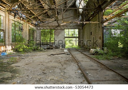 Abandoned train depot in Eastern-Atlanta Industrial park. Atlanta, Georgia, USA.