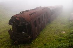 Abandoned train in the fog, Paranapiacaba-Brazil