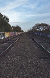 Abandoned Train Tracks with graffiti