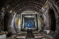 Abandoned tunnels of the Kiev subway between the stations of the University and Khreshchatyk.