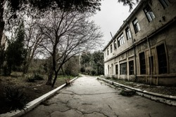 Abandoned village house building in Baku Botanical garden. Nobody in the park with trees. Springtime. Selective focus