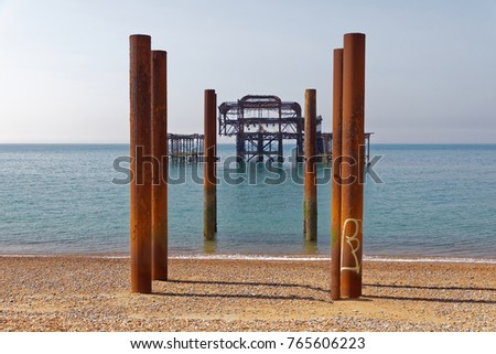 Abandoned West pier in Brighton #765606223