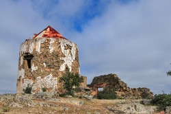 Abandoned Windmill in the algarve, Ruin but still standing