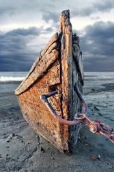 Abandoned wood fishing boat