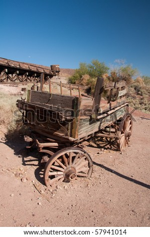Abandoned wooden coach in american ghost town