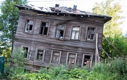 Abandoned wooden house in  Arkhangelsk, Russian northern city. Example of early XXth architecture.