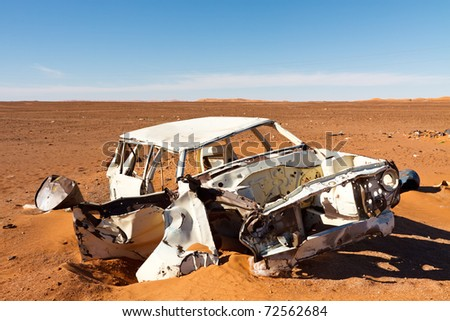 Abandoned wrecked car in Sahara Desert, Libya