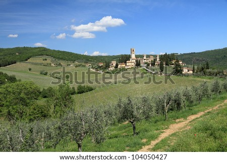 Abbey in tuscan countryside, Badia a Passignano, Tuscany, Italy, Europe