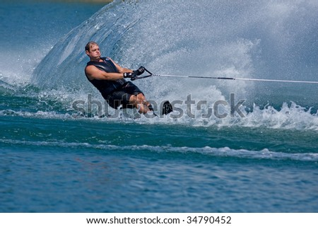 ABBOTSFORD, BC - AUGUST 3: Bob Patton from Nelson Fire & Rescue competes in the men\'s slalom novice waterskiing at the World Police and Fire games Aug 3, 2009 in Abbotsford, BC.