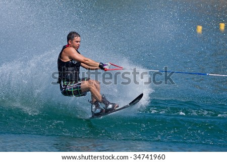 ABBOTSFORD, BC - AUGUST 3: Cam Morris from the Prince George Fire Dept competes in the men's slalom novice waterskiing at the World Police and Fire games Aug 3, 2009 in Abbotsford, BC.