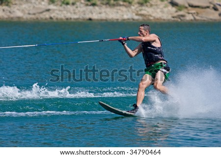 ABBOTSFORD, BC - AUGUST 3: Ryan Hammerer from the Surrey Fire & Rescue Dept competes in the men\'s slalom novice waterskiing at the World Police and Fire games Aug 3, 2009 in Abbotsford, BC.