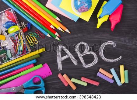 ABC alphabet, blackboard, school desk, preschool basic education
