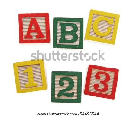 ABC 123 Alphabet blocks isolated on white - stock photo
