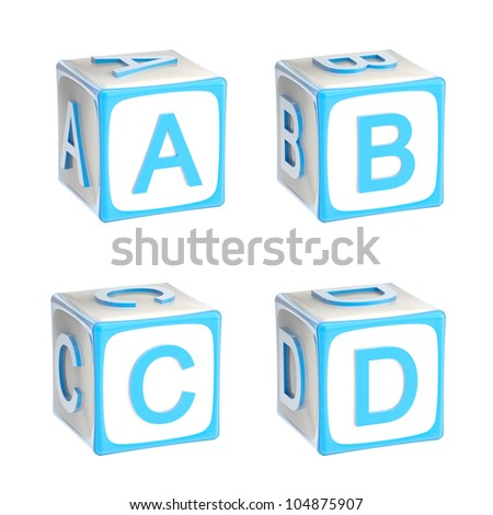 ABC: alphabet made of children playing cubes blue bright and glossy isolated on white, letters a, b, c, d