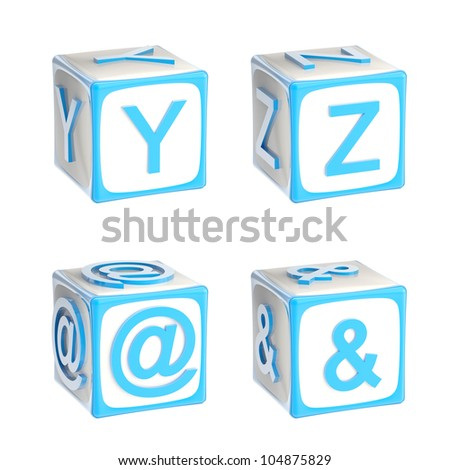 ABC: alphabet made of children playing cubes blue bright and glossy isolated on white, letters y, z