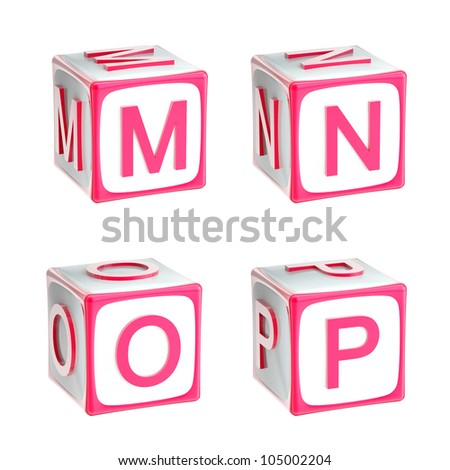 ABC: alphabet made of children playing cubes pink bright and glossy isolated on white, letters m, n, o, p