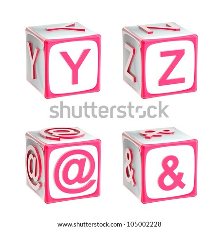 ABC: alphabet made of children playing cubes pink bright and glossy isolated on white, letters y, z