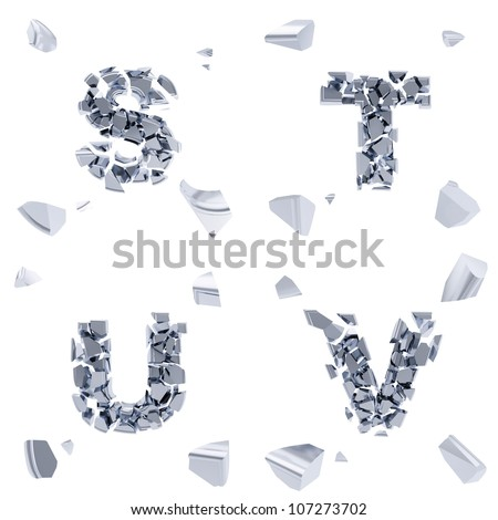 Abc alphabet symbol broken into tiny glossy pieces isolated on white