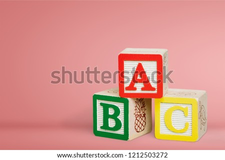 ABC Blocks on pastel background