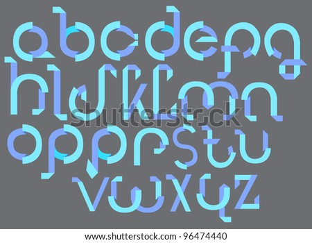 ABC blue font from paper tape, illustration