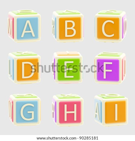 ABC: Bright and glossy alphabet made of children playing cubes isolated on grey, A-I letters 1 of 3
