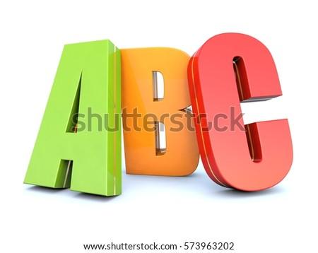 ABC colored alphabet letters 3D render