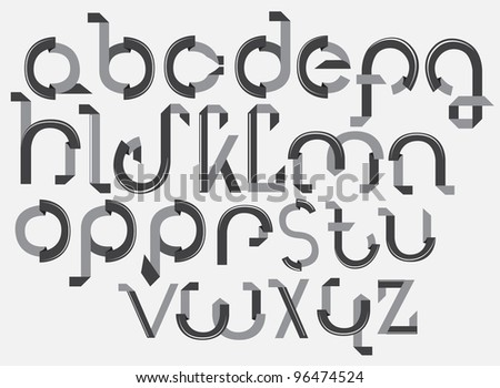 ABC font from paper tape, gray illustration