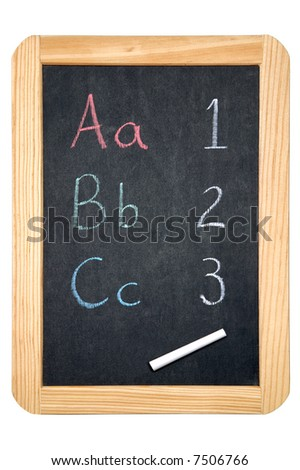 ABC & 123 on a blackboard, isolated on a white background.