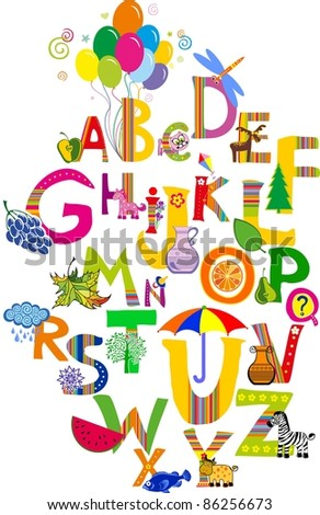 ABC. The complete children's english alphabet splat out with different fun cartoon animals and toys. Alphabet design in a colorful style.