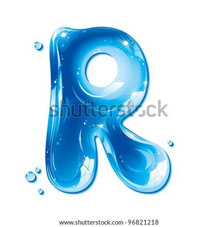 ABC Water Letter - Capital R Liquid Alphabet Gel Series  on white background - raster version