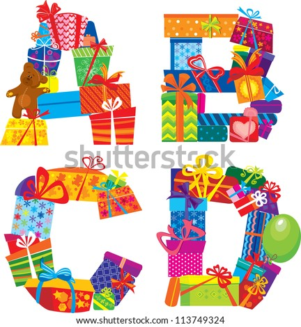 ABCD - english alphabet - letters are made of gift boxes and presents. Raster version
