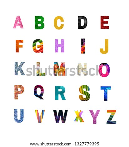 Abcd Letters, Capital Letters,colorful letters,different colors, A-Z alphabets,learn abc for pre-school and kids #1327779395