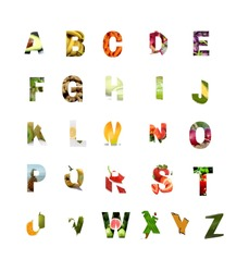 Abcd Letters with vegetable and fruits Pictures, Capital Letters,colorful letters with images,different colors, A-Z alphabets,learn abc for pre-school and kids