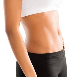 Abdomen of an Athletic Woman Over White Background