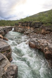 Abiskojaure river canyon, at the start of the Kungsleden trail in Sweden.