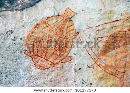 Aboriginal rock art depicting a fish, Ubirr, Kakadu National Park, Northern Territory, Australia