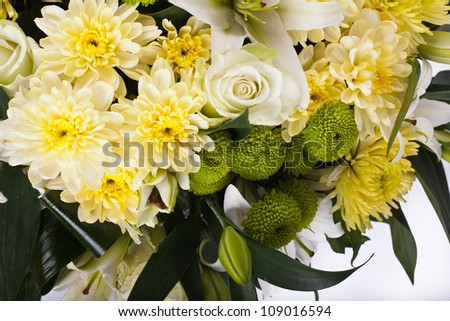 abouquet of chrysanthemums, white rose, Lily