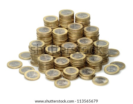 About 300 Euro coins lie on a stack.