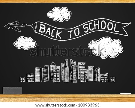 "About the study Students return to school. A message ""BACK TO SCHOOL"" on the blackboard."