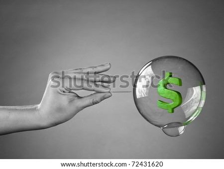 About to burst the bubble. Financial Crisis Concept.