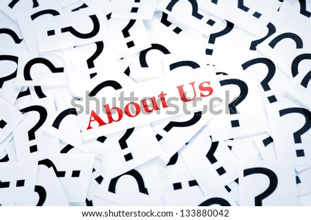 About us word on question mark background