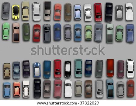 above aerial asphalt automobile background bird car cars eye from grafic illustration mass mobility parking parkinglot pickup s sedan suv transport truck van various vehicle view