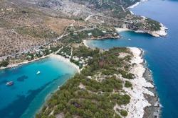 Above Aliki, Thassos Island Greece, high resolution aerial view wallpaper