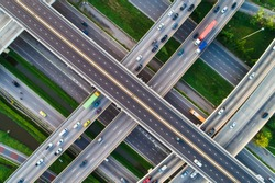 Above City transport junction road aerial view with car movement, Transport industry