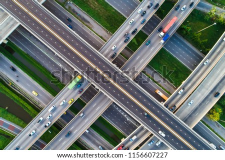 Above City transport junction road aerial view with car movement, Transport industry #1156607227